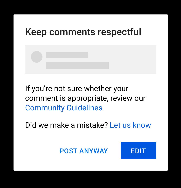 ostrzeżenie przed obraźliwym komentarzem na youtube