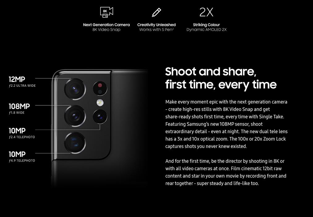 Samsung Galaxy S21 Ultra camera aparat