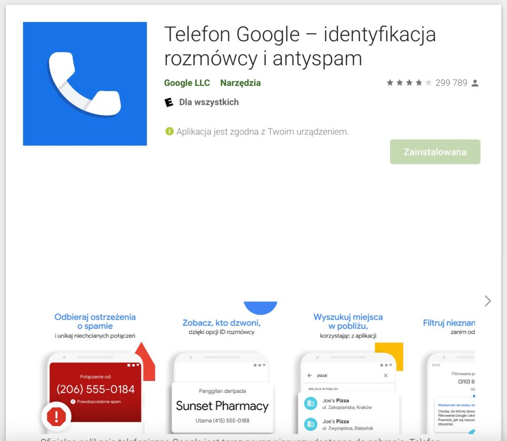 Aplikacja Telefon Google w Google Play
