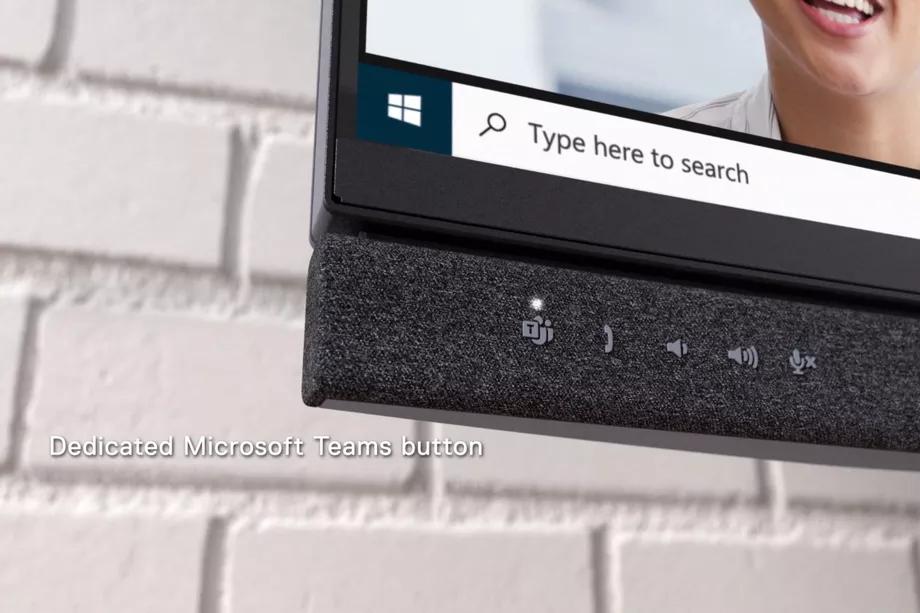 Dedykowany zestaw przycisków Microsoft Teams w nowych monitorach Dell (Żródło: The Verge)