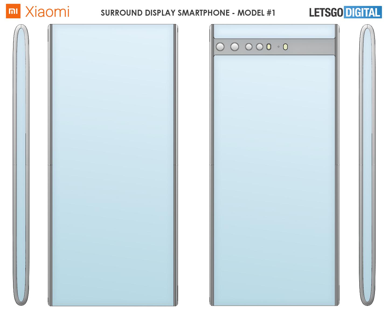 Patent Xiaomi przedstawiający smartfon z ekranem wokół urządzenia (fot. LetsGoDigital)
