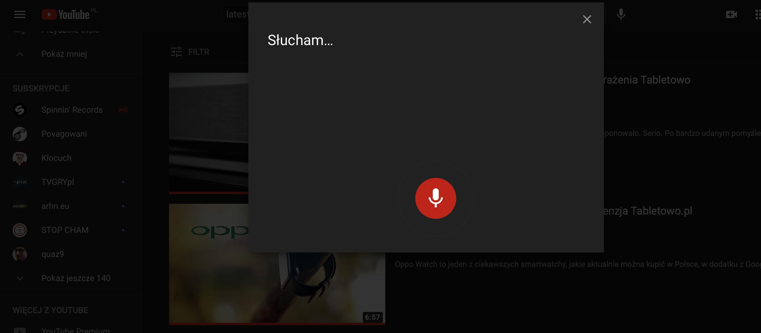 YouTube – obsługa głosowa.