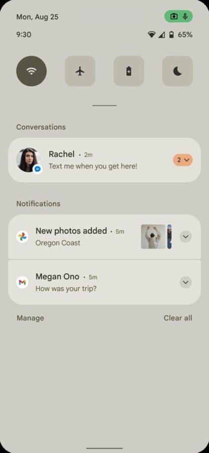 Android 12 - wygląd panelu powiadomień