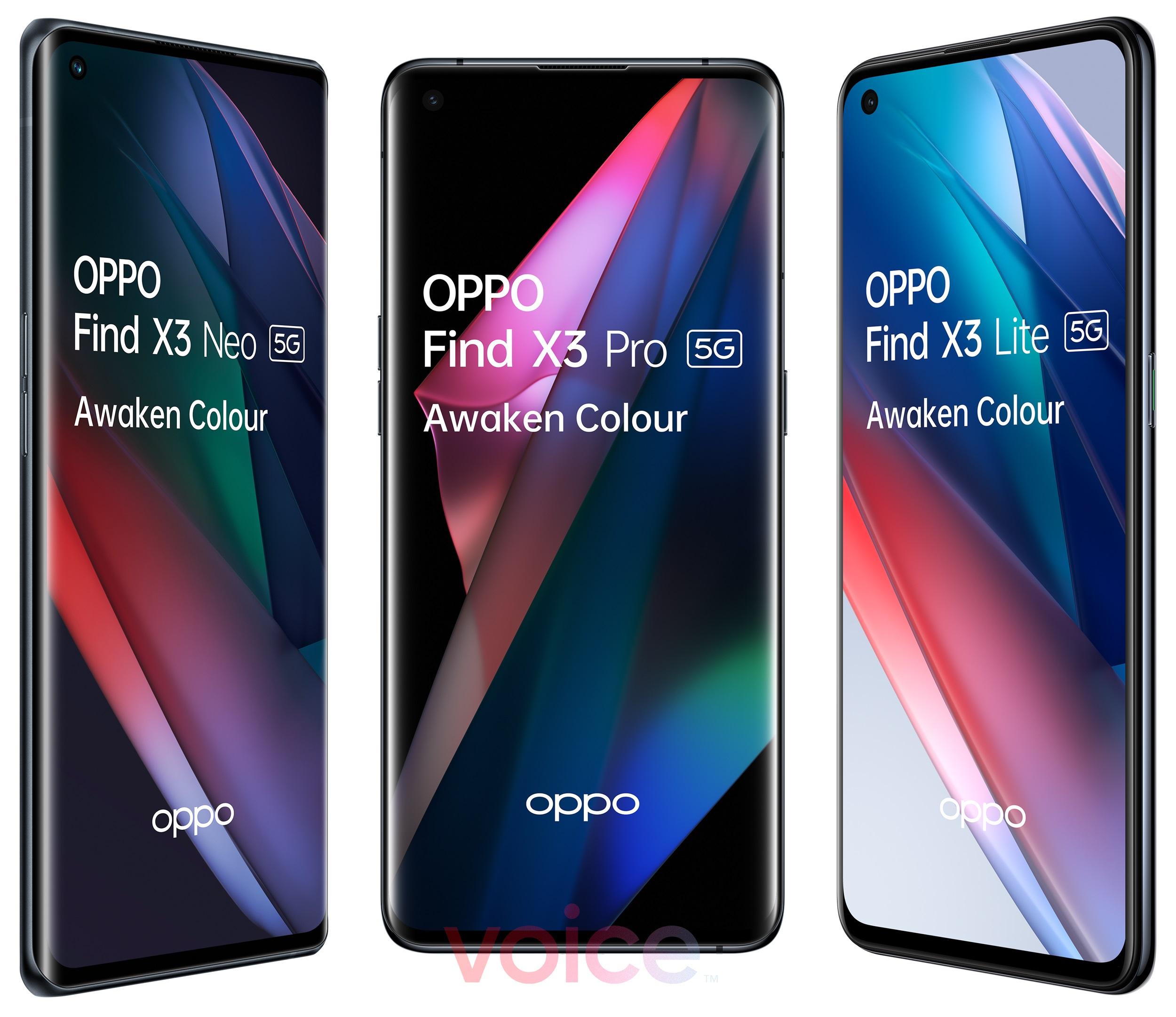 Oppo Find X3 Pro Find X3 Neo Find X3 Lite