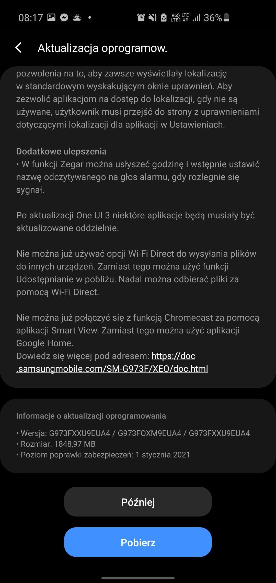 Samsung Galaxy S10 Android 11 One UI 3 aktualizacja