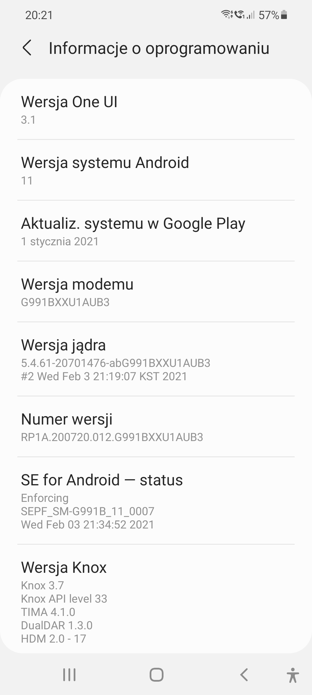 Samsung Galaxy S21 5G system