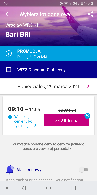 Wizzair - alert cenowy