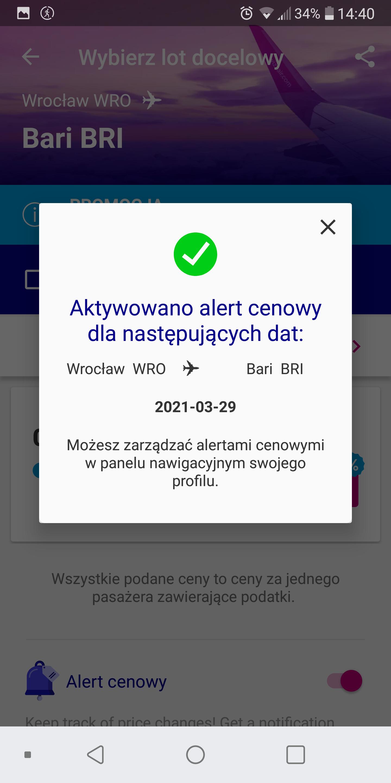 Wizz Air - alert cenowy - aktywacja