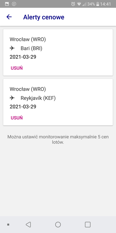 Wizz Air - alert cenowy, lista