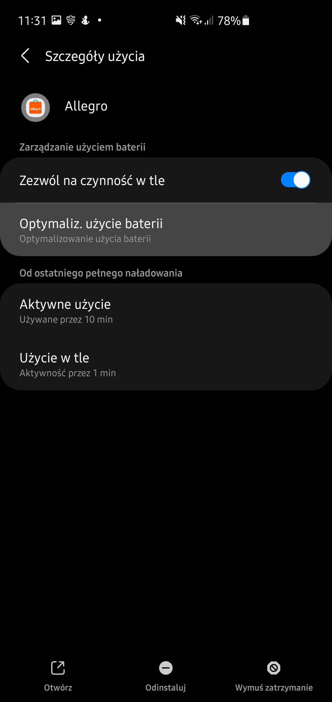 Samsung One UI- aplikacje w tle