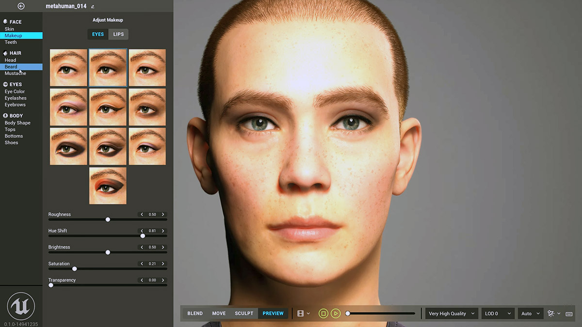 Technologia MetaHuman od Unreal Engine