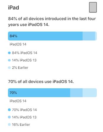 Udział iPadOS 14 pół roku po premierze (źródło: Apple)