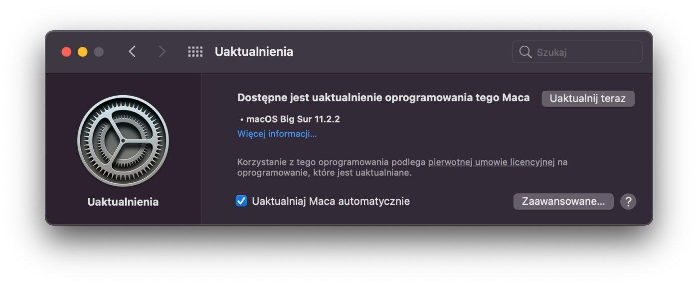 macOS Big Sur – aktualizacja.