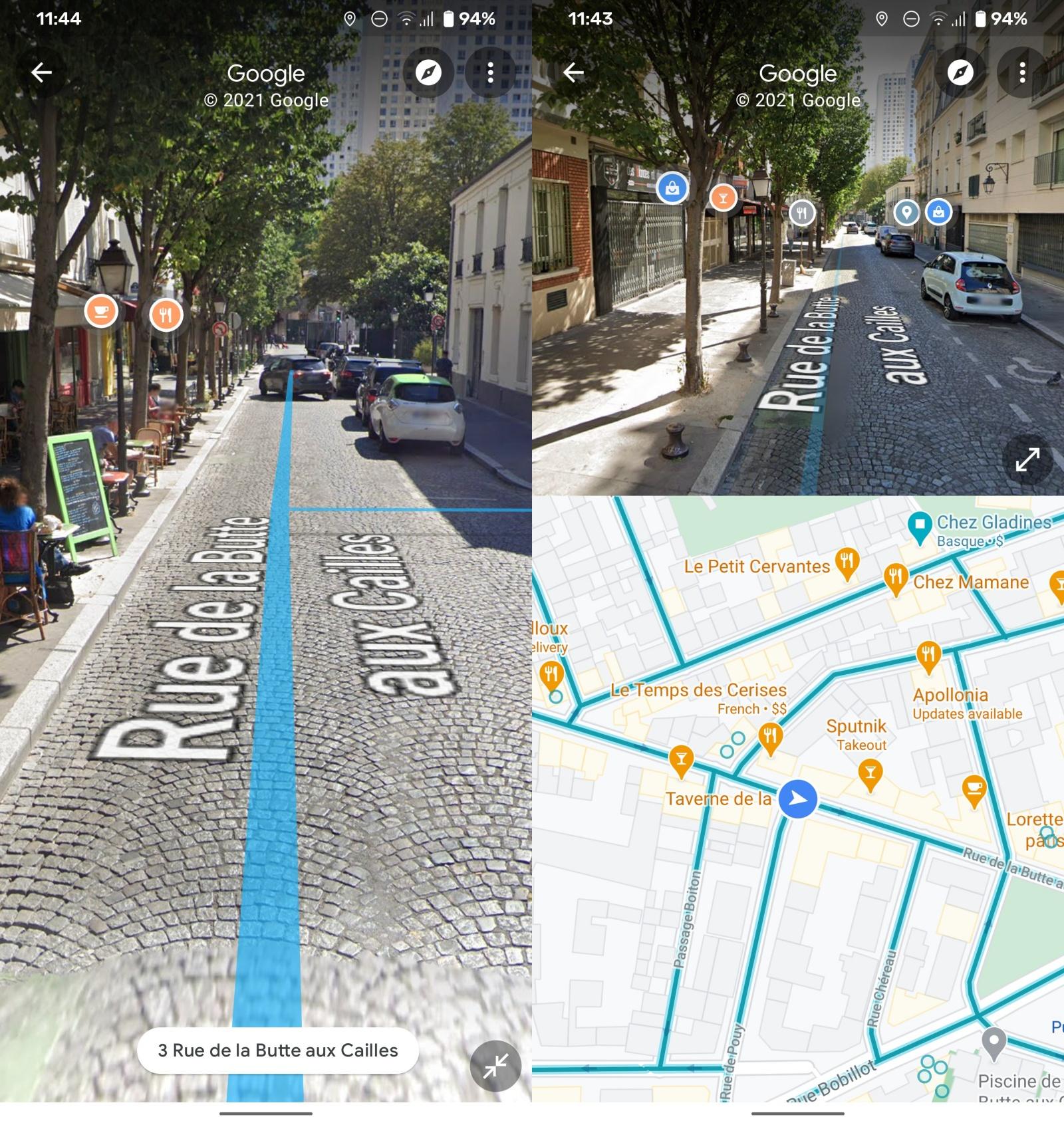 Street View – tryb podzielonego ekranu.