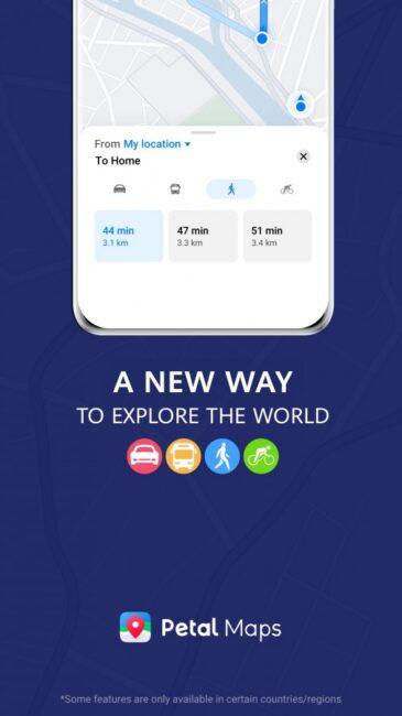 Od teraz Mapy Petal obsługują nawigację samochodową, pieszą, rowerową i przy pomocy transportu publicznego (źródło: GSMArena)