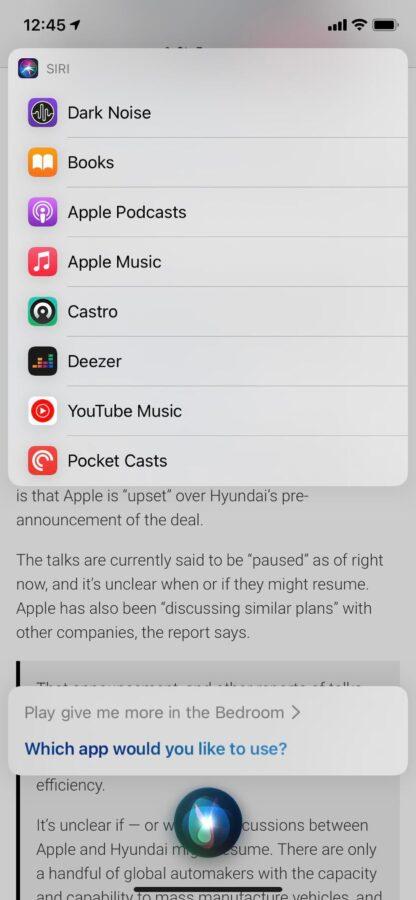 iOS 14.5 – wybór domyślnej aplikacji muzycznej.