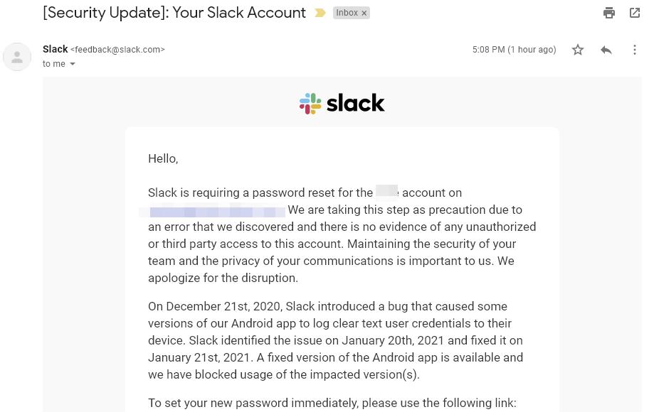 Przykład maila z prośbą o reset hasła Slack fot. via Android Police