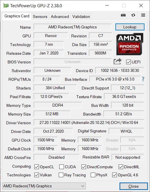 Huawei Matebook D16 GPU-Z
