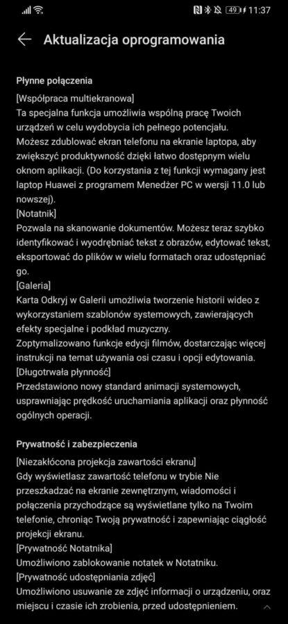 Huawei P30 Pro EMUI 11 Android 10 aktualizacja Polska