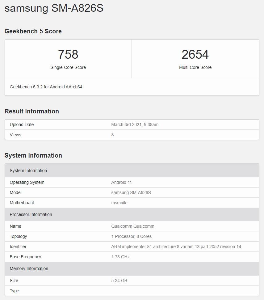 Samsung Galaxy A82 5G SM-A826S Geekbench