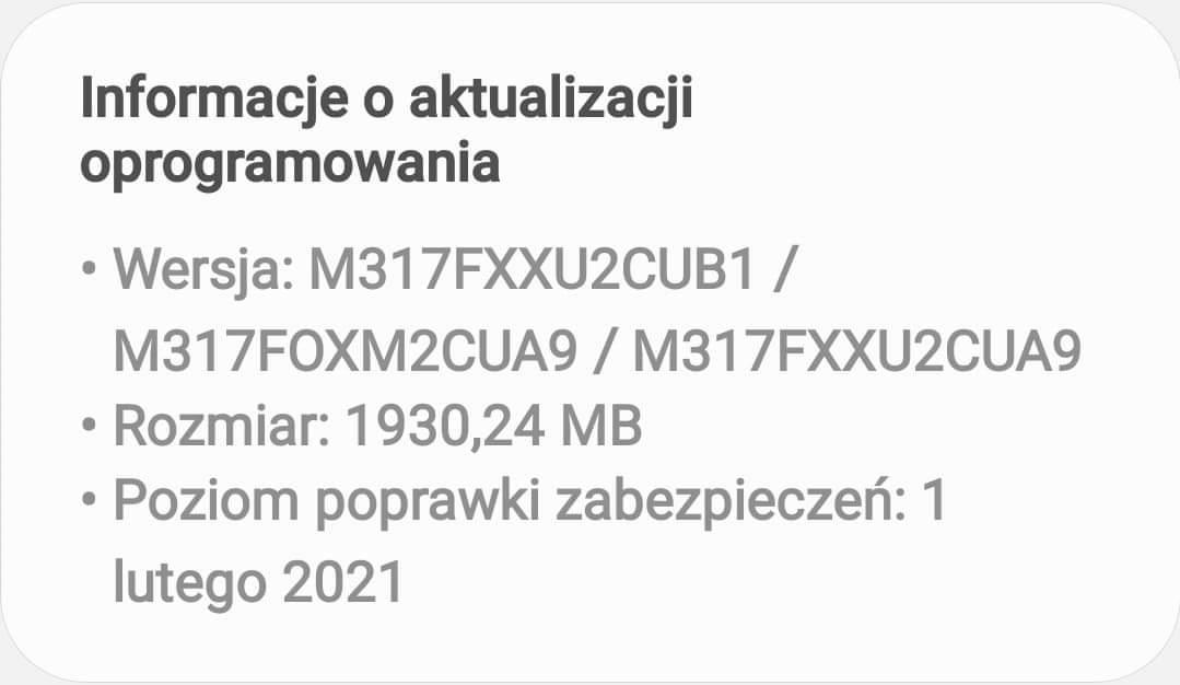 Samsung Galaxy M31s Android 11 One UI 3.0 aktualizacja Polska