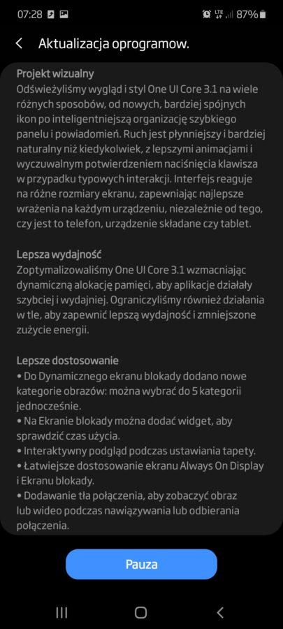 Samsung Galaxy M51 Android 11 One UI 3.1 aktualizacja