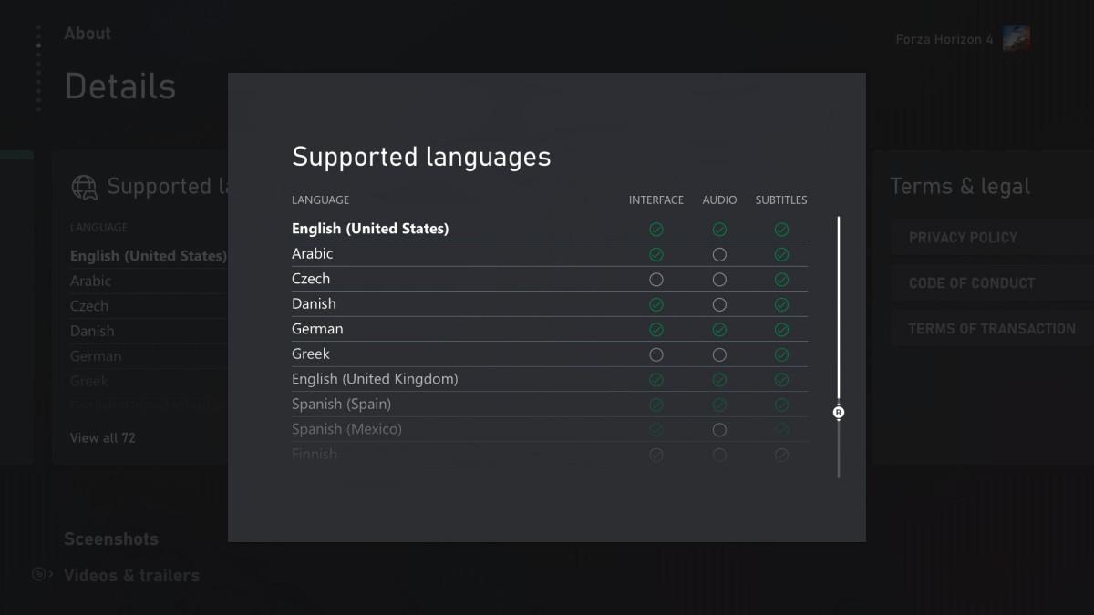 Microsoft Xbox wspierane języki lista