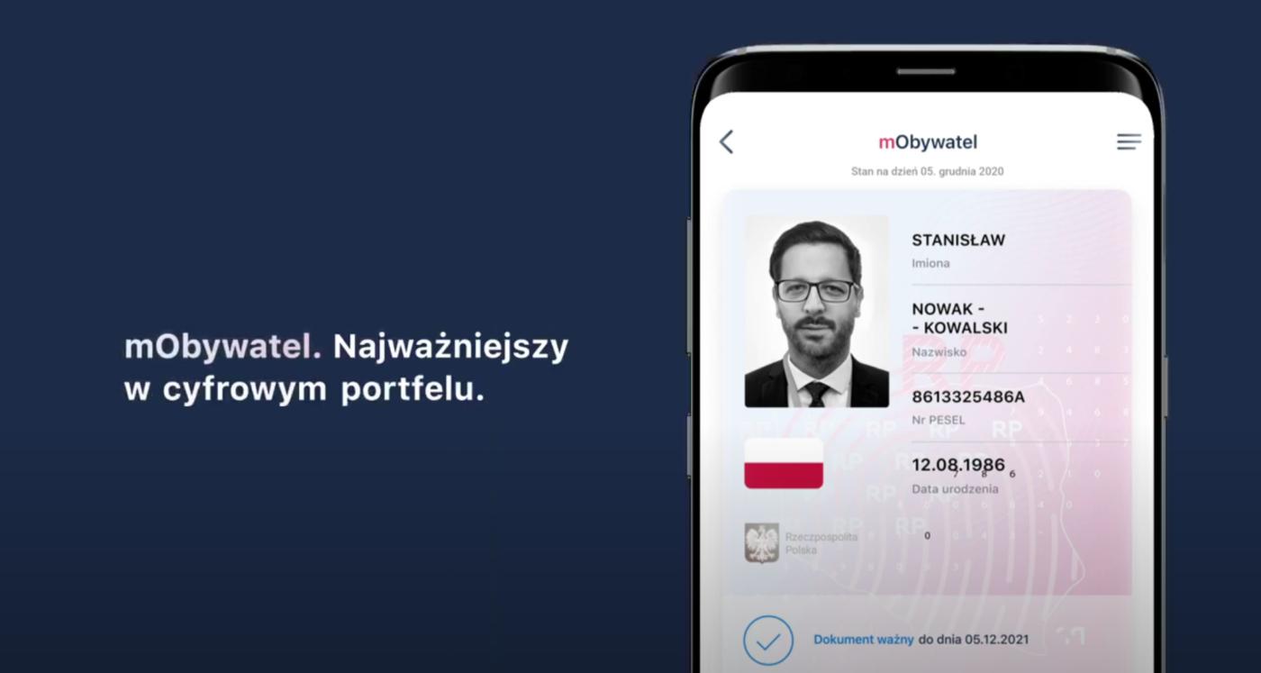 Aplikacja mObywatel - Nowa wersja - screenshot YT: Cyfryzacja KPRM