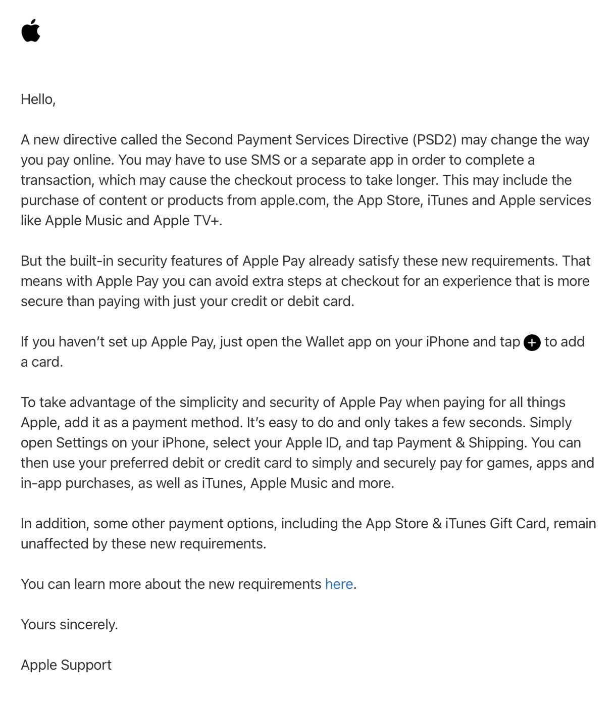 Apple Pay PSD2