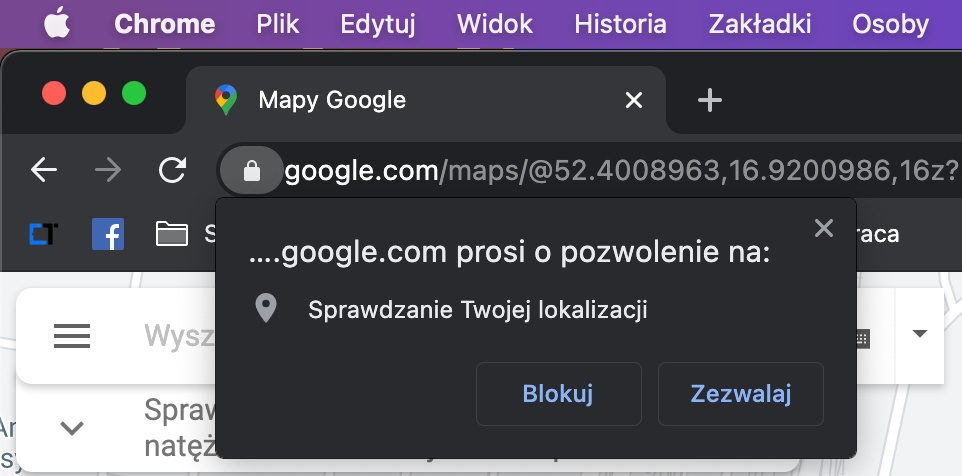 Google Chrome udostępnianie lokalizacji