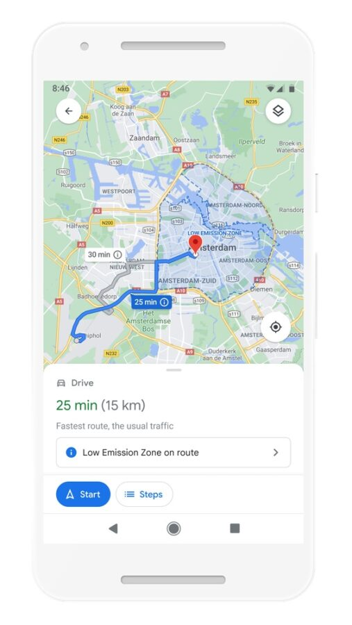 google maps strefy niskiej emisji zanieczyszczen