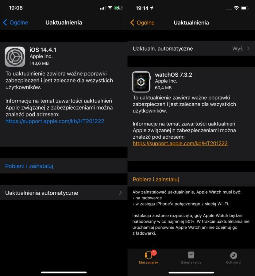 iOS 14.4.1 i watchOS 7.3.2
