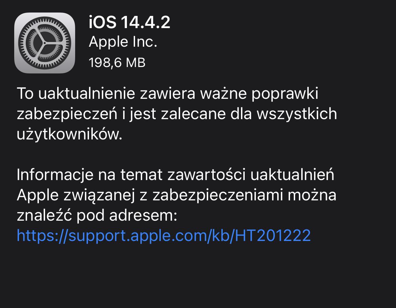 iOS 14.4.2 aktualizacja