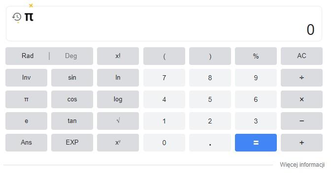 Dzień liczby Pi kalkulator Google