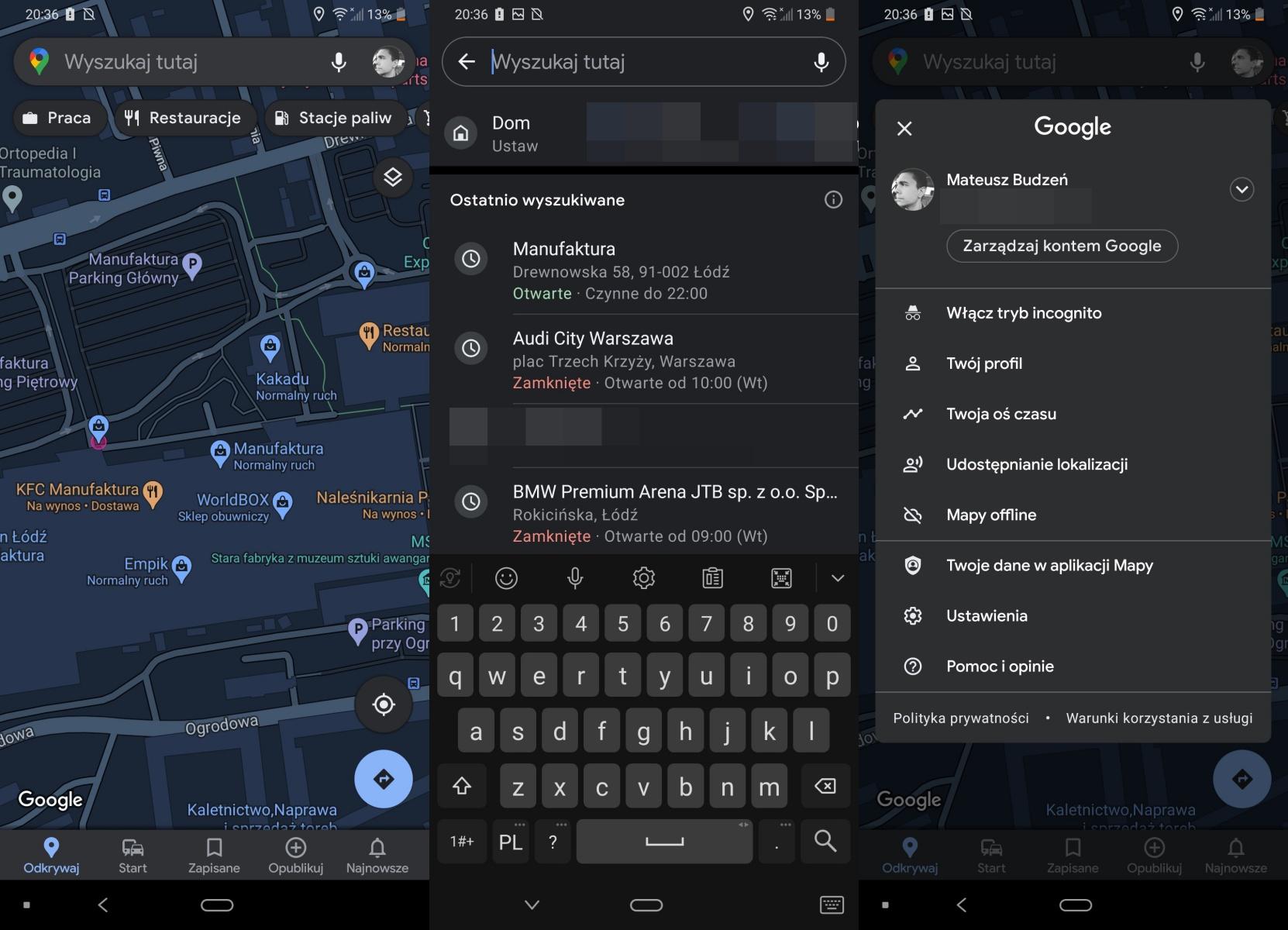 Mapy Google – ciemny motyw