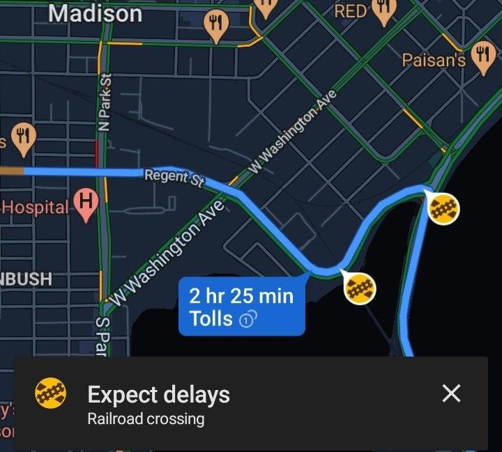 Mapy Google – przejazdy kolejowe.