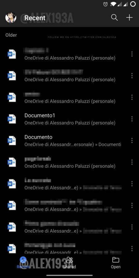 Ciemny motyw aplikacji Office na Androida