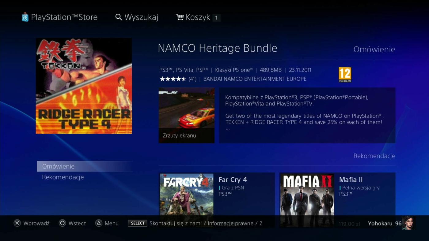 Okno zakupu gry na PS3