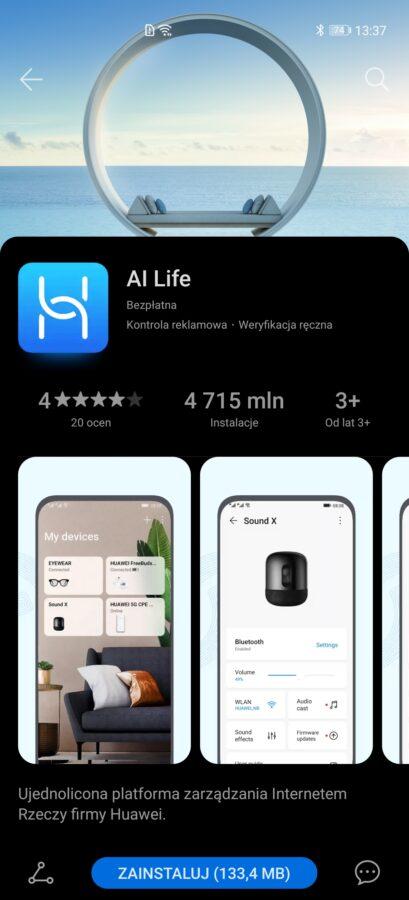 Recenzja Huawei Freebuds 4i - aplikacja AI Life - fot. Tabletowo.pl