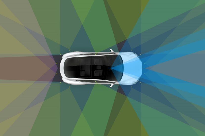 Obrazek samochodu autonomicznego, widok z góry