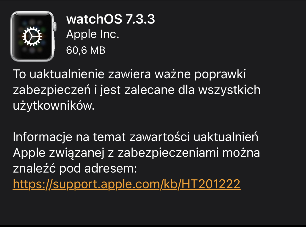 Apple Watch watchOS 7.3.3 aktualizacja
