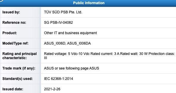 Asus ZenFone 8 Mini TUV SUD 30 W