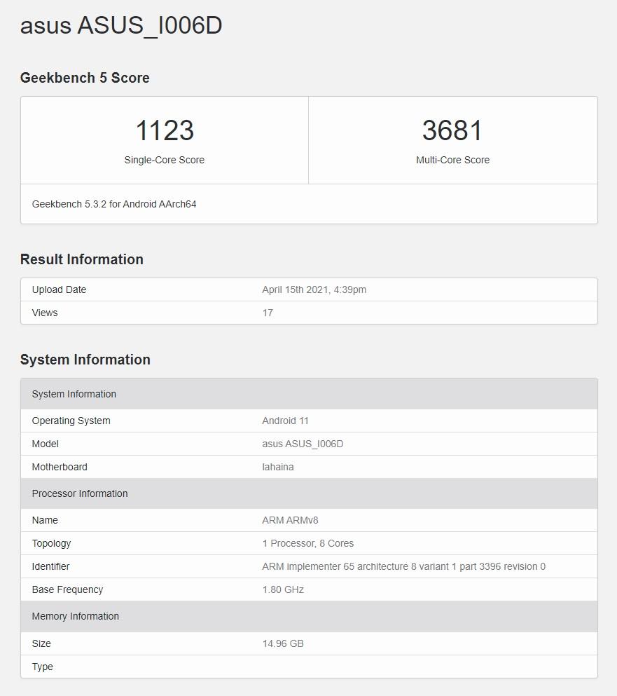 Asus ZenFone 8 Mini Geekbench