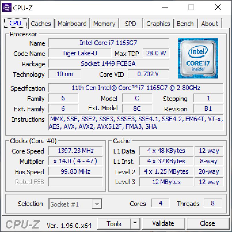 Matebook X Pro 2021 CPU
