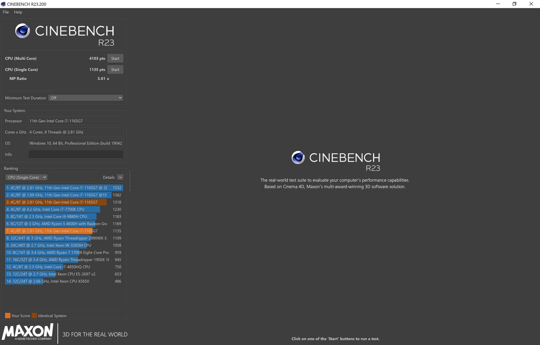 Matebook X Pro 2021 Cinebench