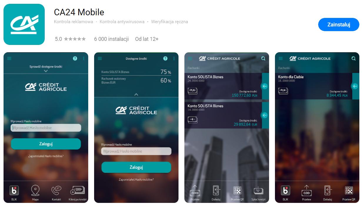 Aplikacja CA24 Mobile banku Credit Agricole w AppGallery