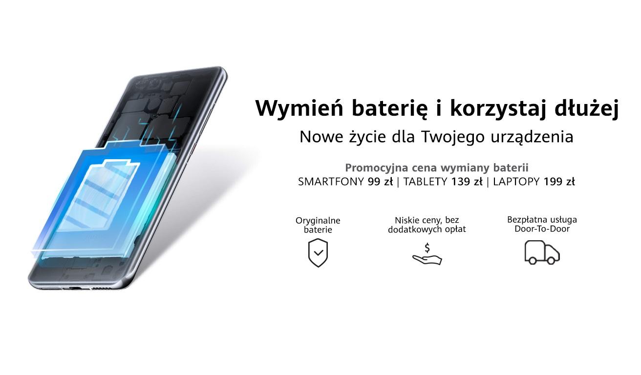 promocja Huawei wymiana baterii w smartfonie tablecie laptopie niższa cena