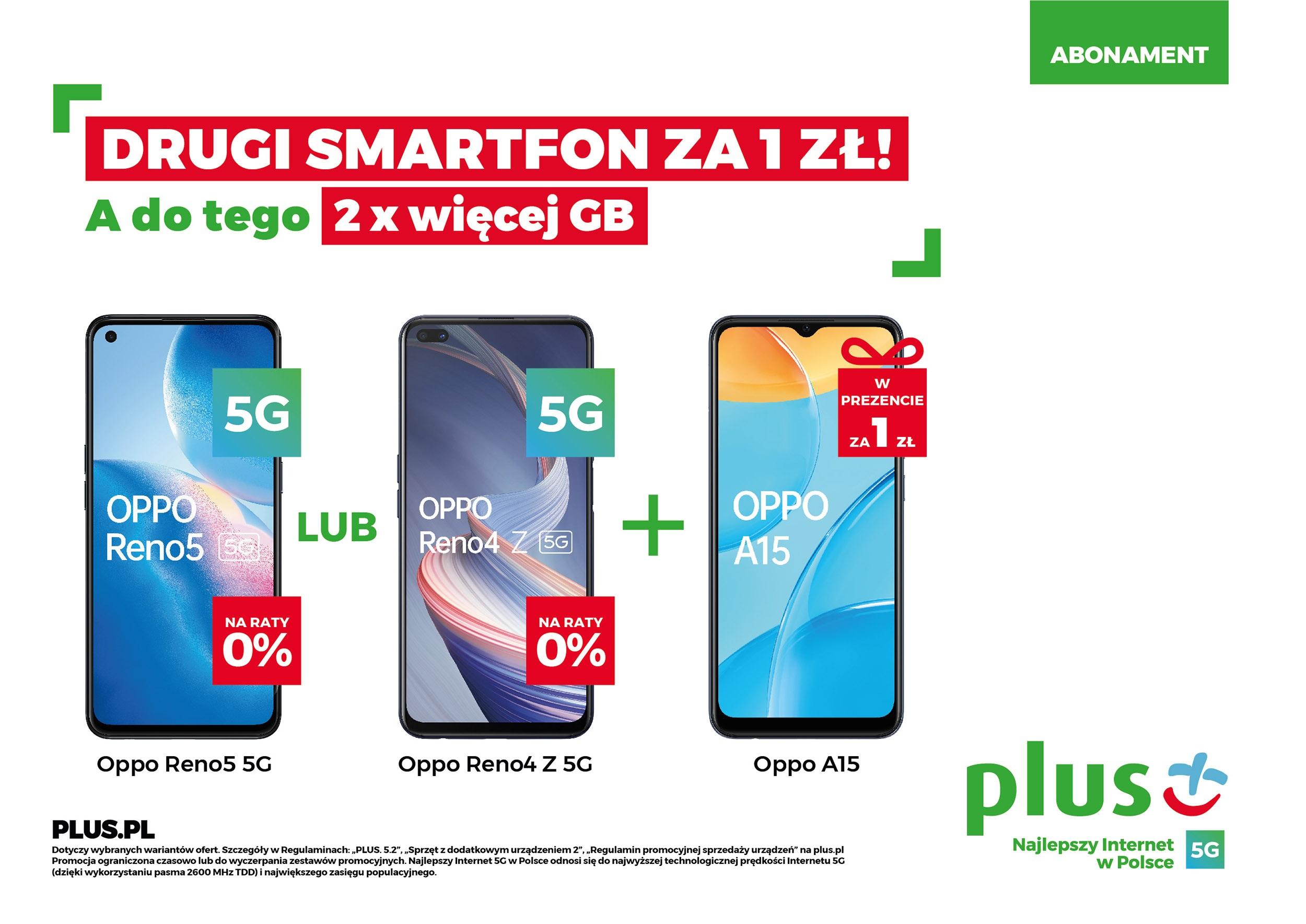 promocja Plus drugi smartfon za złotówkę abonament wiosna 2021