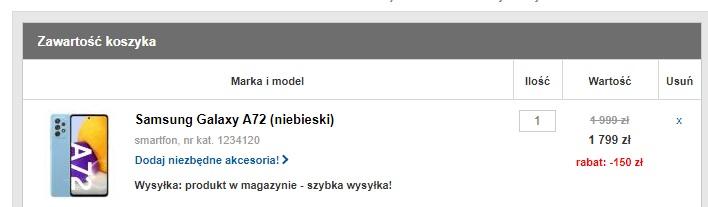 promocja Samsung Galaxy A72 za 1649 złotych w RTV Euro AGD