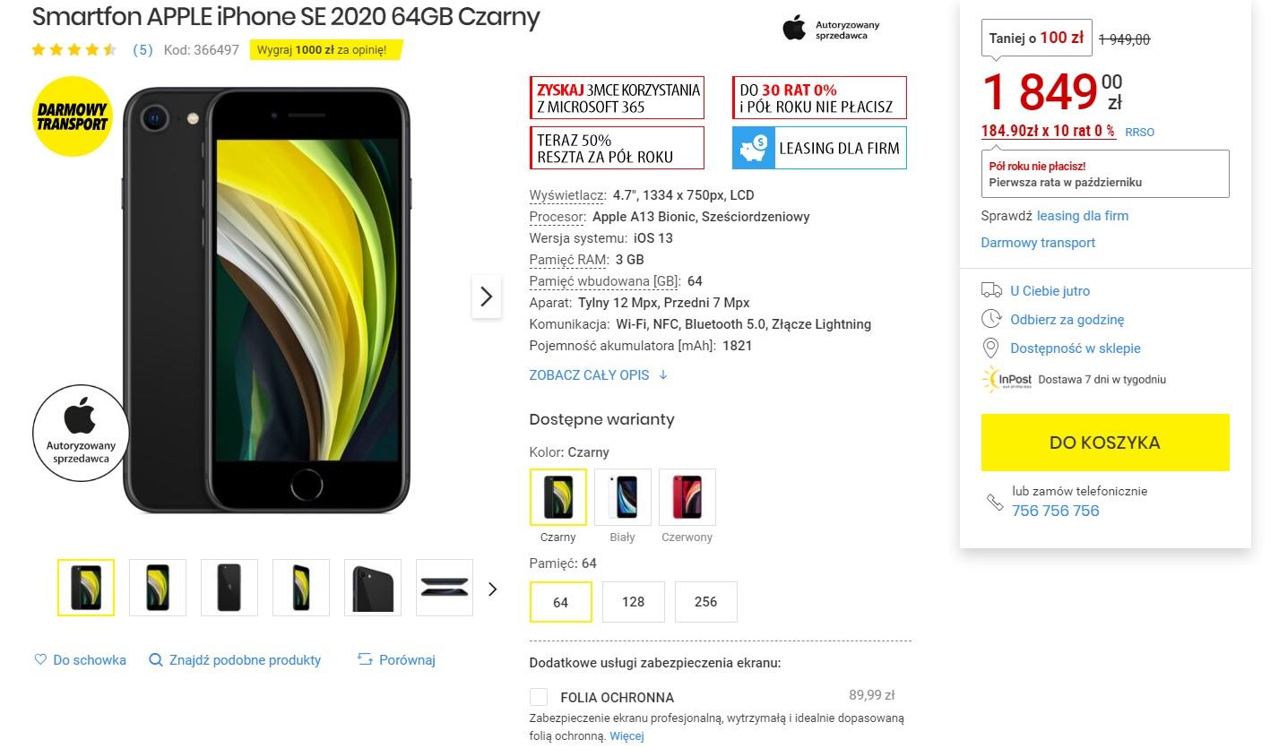 promocja iPhone SE 2020 Media Expert za 1849 złotych